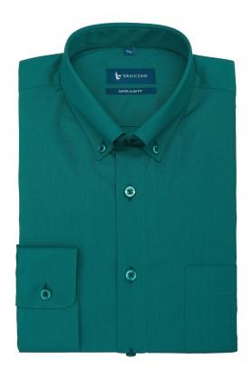 Camasa pentru barbati verde cu maneca lunga uni