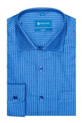 Camasa albastra cu picouri bleu pentru barbati