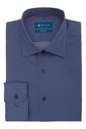 Camasa casual pentru barbati bleumarin cu picouri albe si bleu