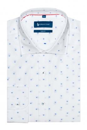 Camasa culoare alb cu print bleu pentru barbati
