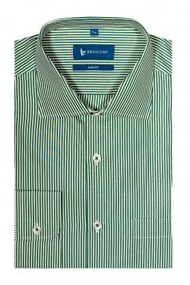 Camasa business pentru barbati alba cu dungi verzi