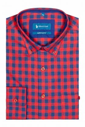 Camasa casual pentru barbati rosie in carouri bleumarin