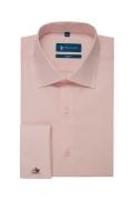 Camasa easy-care roz uni maneca lunga cu manseta dubla