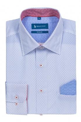 Camasa casual pentru barbati alba cu desene bleu