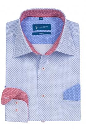 Camasa casual culoare alb cu print bleu pentru barbati