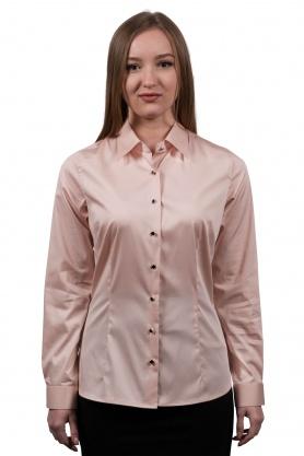 Bluza dama office culoare roz cu maneca lunga