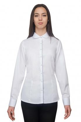 Bluza dama office culoare alb cu guler rotund