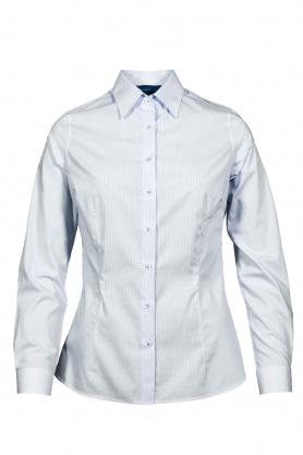Bluza dama office culoare alb cu picouri bleu