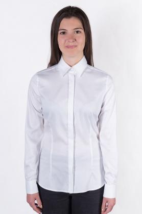 Bluza dama office culoare alb cu maneca lunga