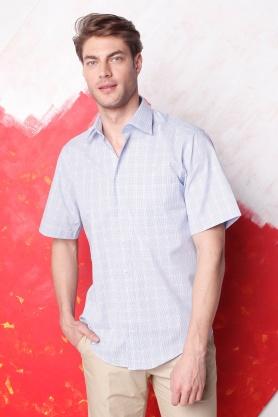 Camasa pentru barbati bleu cu maneca scurta