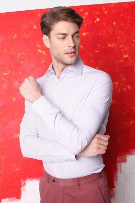 Camasa alba cu dungi lila si roz pentru barbati