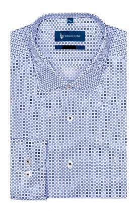 Camasa pentru barbati casual cu desene bleu