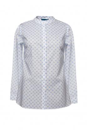 Bluza de dama alba cu desene bleu