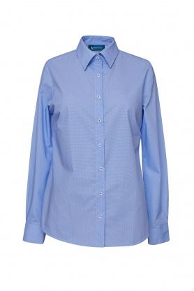 Bluza dama office culoare bleu cu picouri albe
