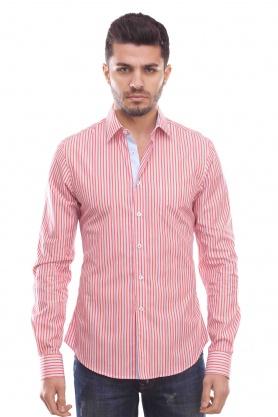 Camasa de barbati rosie cu dungi multicolore