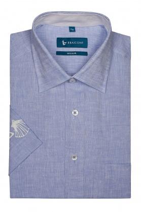 Camasa din in culoare bleu pentru barbati