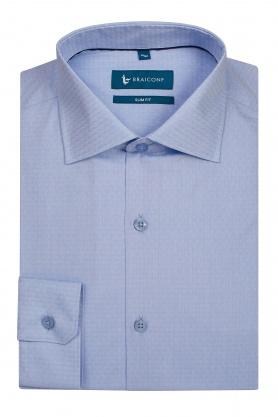 Camasa pentru barbati bleu cu desene albe