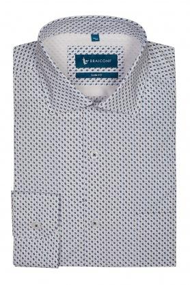 Camasa alba cu print bleu pentru barbati