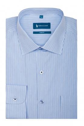 Camasa pentru barbati alba in dungi bleu si bleumarin