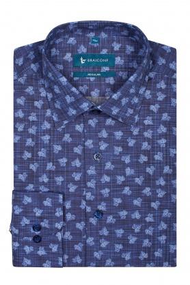 Camasa pentru barbati bleumarin cu frunze bleu