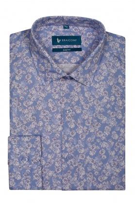 Camasa pentru barbati bleu cu desene florale