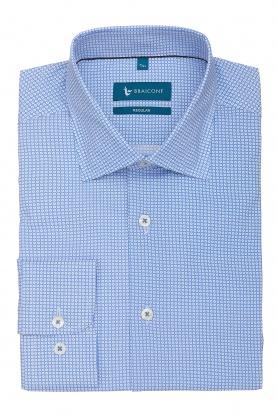 Camasa clasica culoare bleu cu picouri albe pentru barbati