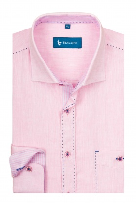 Camasa casual pentru barbati roz cu maneca lunga