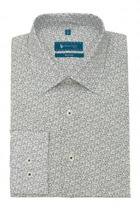 Camasa casual pentru barbati alba cu print