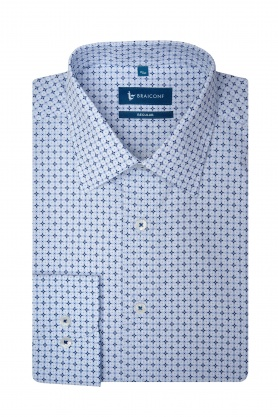 Camasa pentru barbati alba cu desene bleu din bumbac