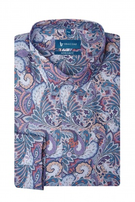 Camasa super slim fit cu printuri multicolore