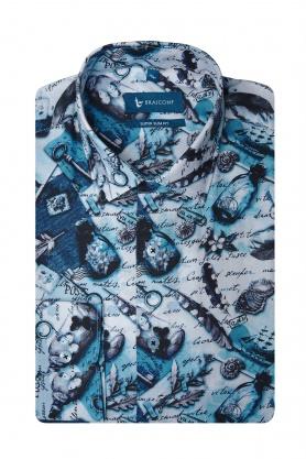 Camasa bleu din bumbac pentru barbati