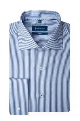 Camasa business alba cu dungi bleu pentru barbati