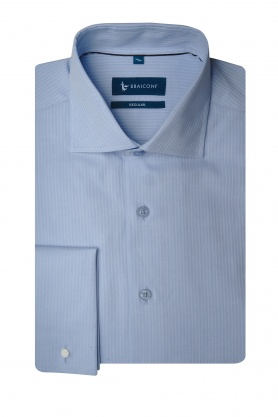 Camasa pentru barbati business bleu cu manserta dubla