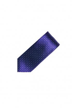 Cravata din matase mov cu picouri bleu si crem
