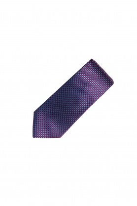 Cravata din matase grena cu picouri bleu
