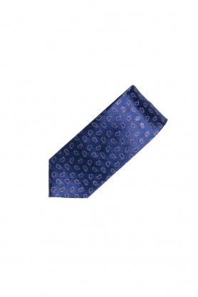 Cravata din matase bleumarin cu paisley