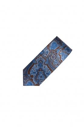 Cravata din matase maro cu desene albastre
