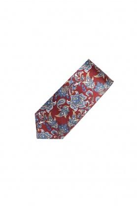 Cravata rosie din matase cu desene