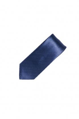 Cravata din matase cu picouri bleumarin