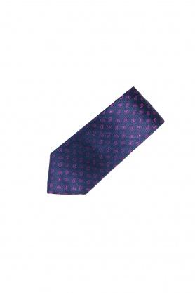 Cravata din matase bleumarin cu paisley roz