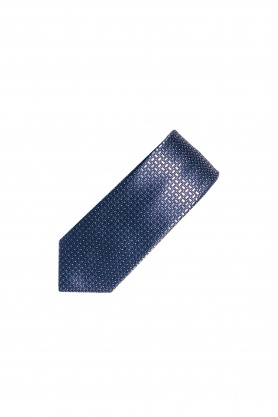 Cravata bleumarin cu forme geometrice