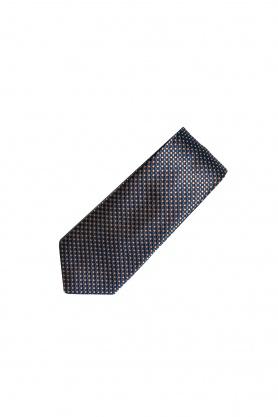Cravata maro cu picouri bleu