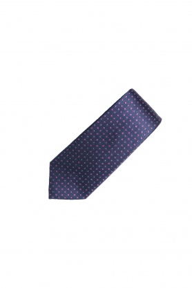 Cravata bleumarin cu print floral roz