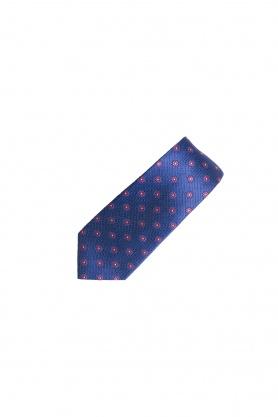 Cravata bleumarin cu flori rosii