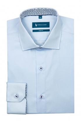 Camasa casual bleu din bumbac pentru barbati