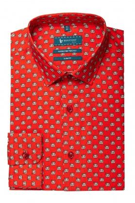 Camasa rosie cu print pentru barbati