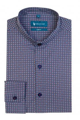 Camasa alba cu print albastru pentru barbati