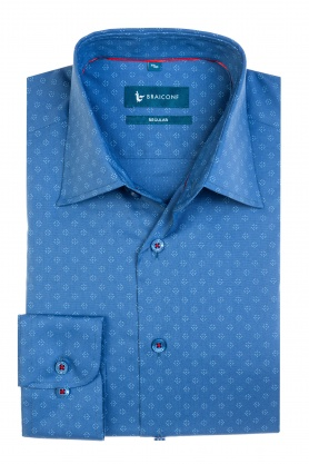 Camasa casual albastra cu print