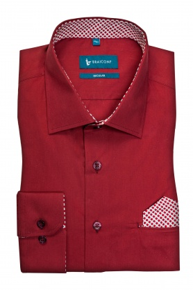 Camasa casual croita cu tipar clasic si detalii de garnitura in contrast