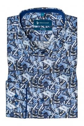 Camasa casual croita cu tipar clasic, din tesatura de bumbac, imprimata cu printuri